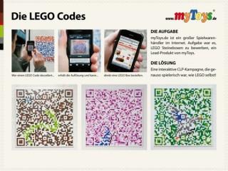 Lego Codes. Lukas Lindemann Rosinksi generiert Codes aus Lego-Bausätzen und setzt diese in Plakaten für Mytoys.de um.