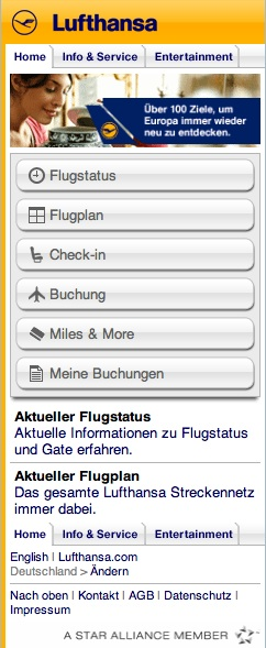 »E-Commerce-Sites«: Silber - Relaunch des mobilen Portals der Lufthansa von Clanmo