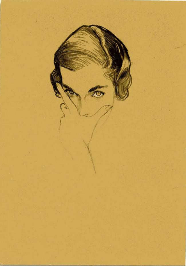Drawing Fashion | Bouché. Portrait of Mona Bismarck, Vogue US