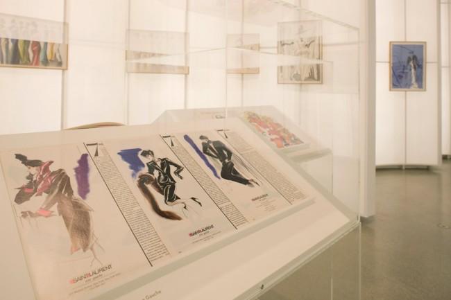 Drawing Fashion | Installation image, Design Museum. Photo © Luke Hayes