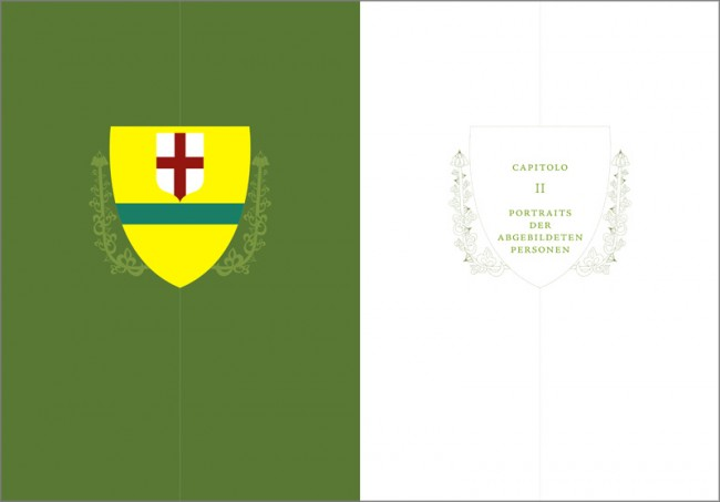 Konzeption und Gestaltung eines Sachbuches zur Brancacci-Kapelle in Florenz | Kapiteltrenner mit dem Wappen der Familie Brunelleschi
