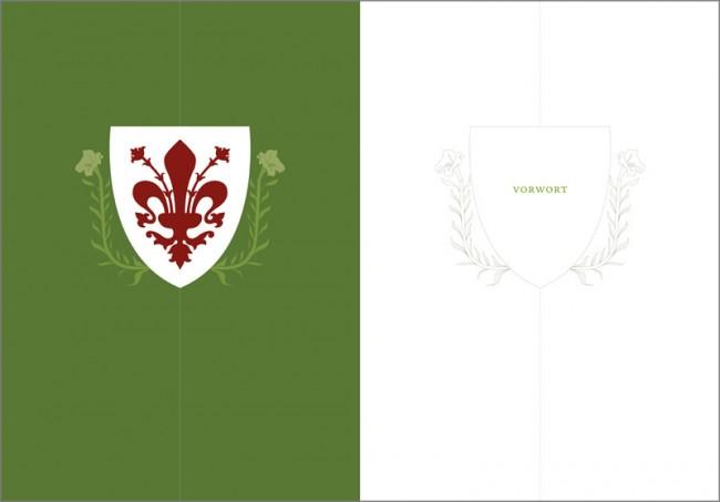 Konzeption und Gestaltung eines Sachbuches zur Brancacci-Kapelle in Florenz | Vorwort Kapiteltrenner mit dem Wappen der Stadt Florenz