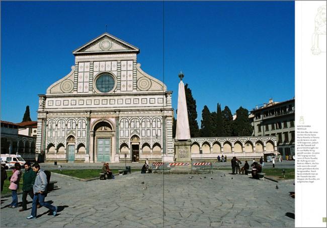 Konzeption und Gestaltung eines Sachbuches zur Brancacci-Kapelle in Florenz | Porträt des Architekten Leon Battista Alberti (hier die von ihm fertiggestellte Kirche Santa Maria Novella in Florenz)