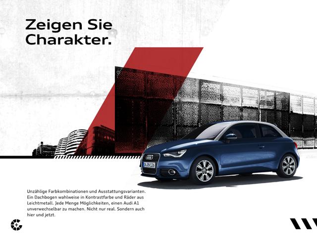 Der Audi A1 Katalog arbeitet mit Parlax-Effekt. Beim Swipen verschieben sich die verschiedenen Bildebenen nacheinander. So wirkt es unter anderem so, als ob der Audi losfährt.