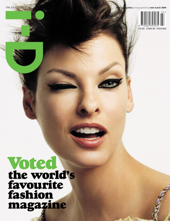 Tesh/i-D Magazine | No. 241 | The Studio Issue March 2004 Cover Star Linda Evangelista, Photography Tesh, Styling Edward Enninful, Hair by Malcolm Edwards, Make-up by Kay Montano