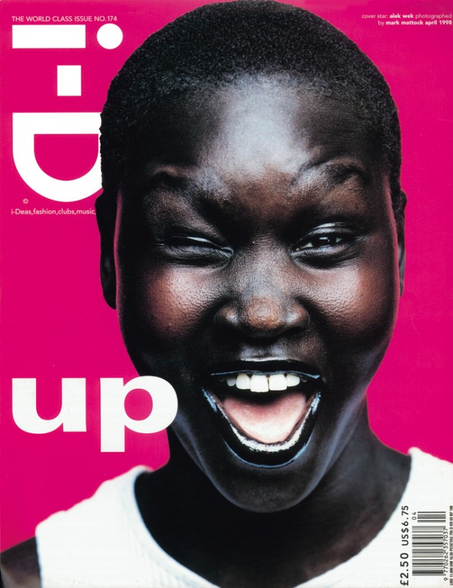 Mark Mattock/i-D Magazine | No. 174 | The World Class Issue April 1998 Cover Star Alek Wek, Photography Mark Mattock, Make-up by Aaron de Mey
