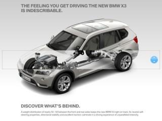 BMW X3-Katalog: Der User kann das Innenleben des Fahrzeugs visuell erkunden