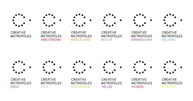 Creative Metropoles | Corporate Design für dieses EU-Projekt, das 11 europäische Hauptstädte vereint, um die Wichtigkeit der Kreativ-Wirtschaft aufzudecken, zu erhöhen und den kulturellen Austausch zu fördern / seit 2009