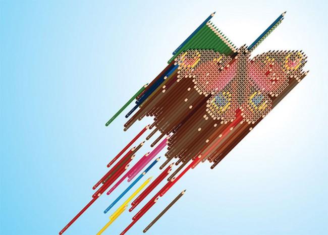 Butterfly sculpture contains 818 pencils, A1 poster, 2002 (Buntstifte sind lebensgroß auf dem Poster)