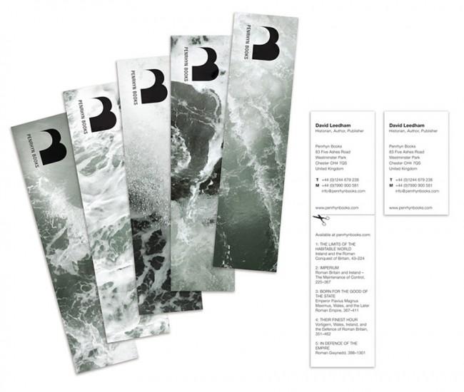 Penrhyn Books – Visuelle Identität, Buchdesign der Serie The Bitter Sea – Römische Geschichte in Großbritannien, 2010–2011 / Lesezeichen-Visitenkartenkombination – Teil der visuellen Identität entwickelt für Penrhyn Books, 2010