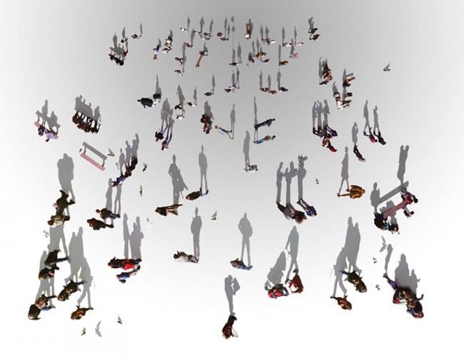 Shadows – FL@33 Illustration – Fußgänger gesehen vom Eiffelturm, 2003