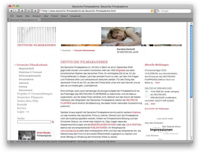 Deutsche Filmakademie Web 2009
