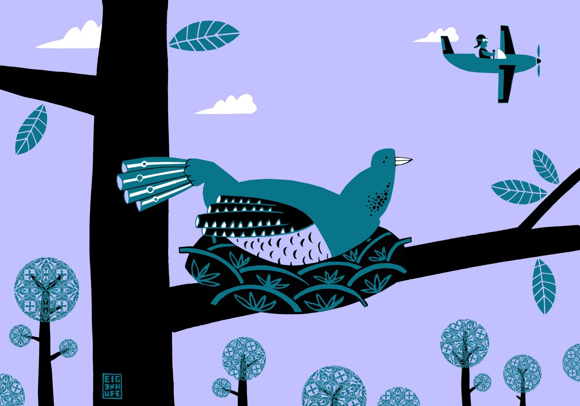 Tom Eigenhufe illustriert jeden Monat Rätsel zu Buch, Film, Musik oder Theater. Hier »Einer flog übers Kuckucksnest«