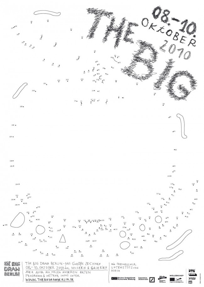 The Big Draw Berlin / Das grosse Zeichnen | Plakatserie für ein Festival, welches die Besucher zum Zeichnen anregen soll. Die Motive der Plakate müssen vom Betrachter vervollständigt werden mittels Zahlen verbinden. Es ergeben sich als bildliche Motive »The Big Fish«, »The Big Bang« und »The Big Apple«.  Kunde: The Big Draw Berlin / Kulturlabor e.V. Jahr: 2010