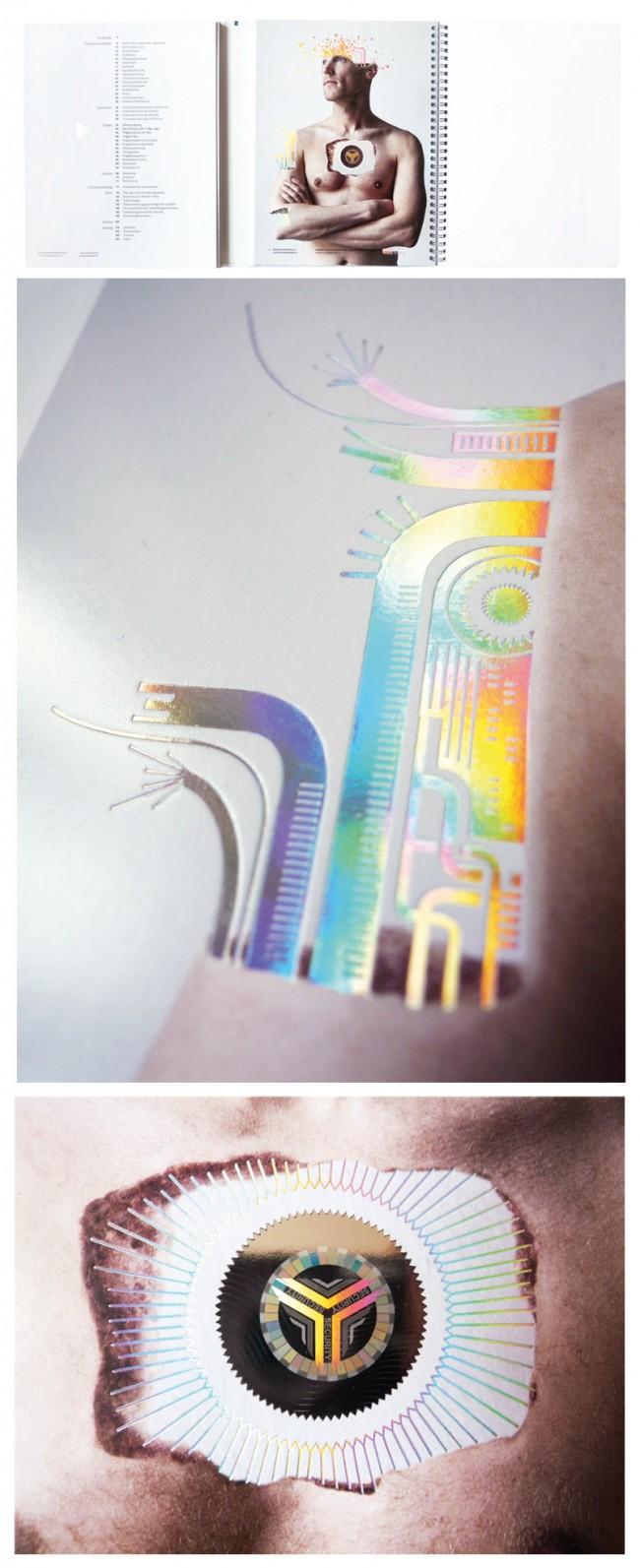 Extra | Hologramm-Folienprägung-Beitrag zu dem Buch »Extra - Enzyklopädie der Druckveredelungen« von Franziska Morlok und Till Beckmann (Rimini Berlin).  Kunde: Rimini Berlin. Jahr: 2010