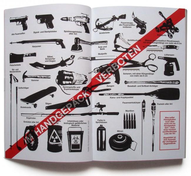 Aus »DIE GROSSE JAHRESSCHAU 2010«: Im Handgepäck verbotene Gegenstände, z. B. Schlittschuhe und Kanupaddel