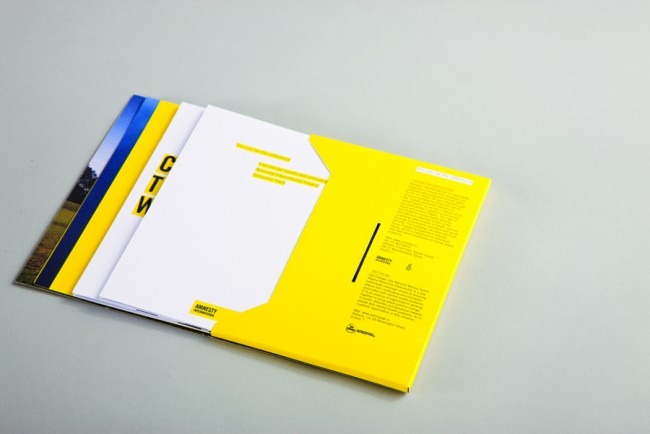 Client: Amnesty International,  Mental Health Campaign informational custom design pack, printed two colour on 350gsm Challenger offset   © Swollen