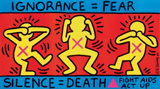 Keith Haring (1958–1990) Unwissen schafft Furcht, Schweigen bedeutet Tod /Ignorance = Fear, Silence = Death, New York 1989 Offset /Offset print, 61 * 109,5 cm © Keith Haring Foundation