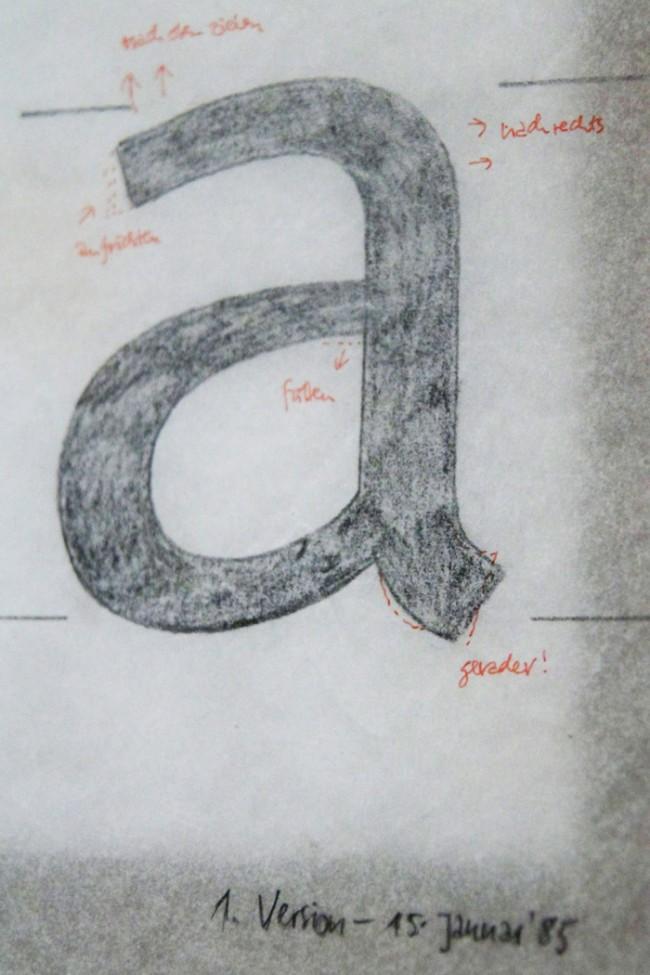 Erster Entwurf einer Hausschrift für die Deutsche Post, Anfänge der FFMeta   © Erik Spiekermann