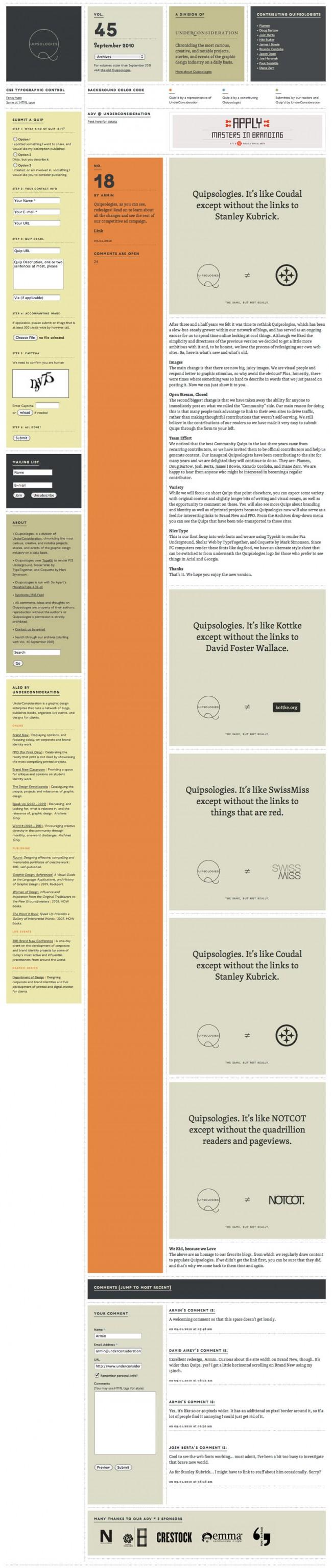 Quipsologies von Armin Vit | © Underconsideration