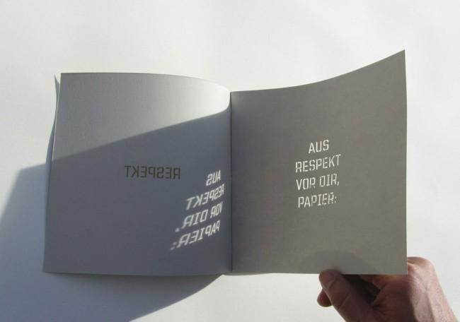 Papierkunst: Imagebroschüre »Respekt« von Freie Radikale © Freie Radikale