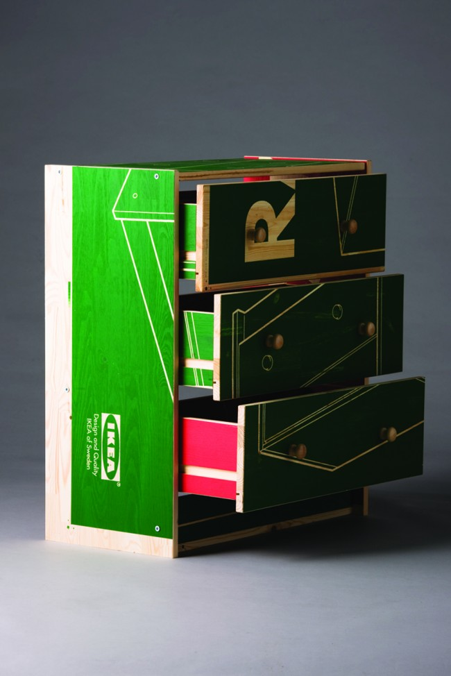 Client: Drawers exhibition. Two colour screen printed IKEA drawers   © Swollen