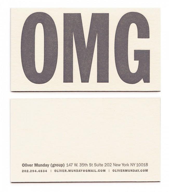 »Oh my god« Visitenkarte von Oliver Munday | © Oliver Munday