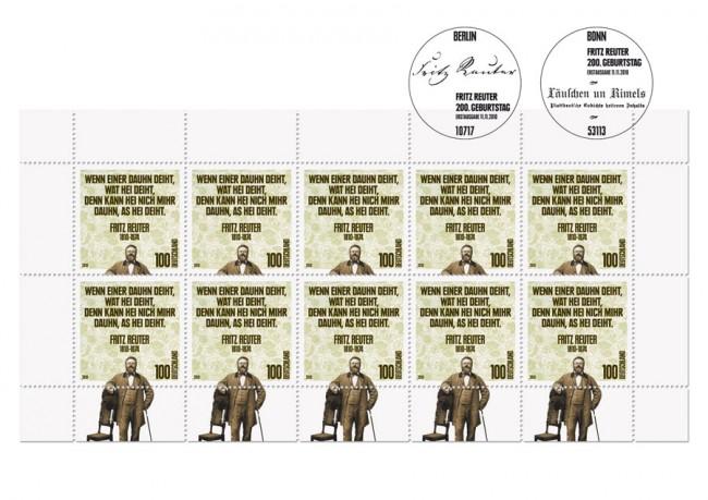 Sonderbriefmarke 200. Geburtstag Fritz Reuter