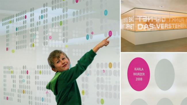 Gestaltung und Beschilderung der Volksschule und des Kindergartens Satteins von Verena Petrasch und Angelika Mathis