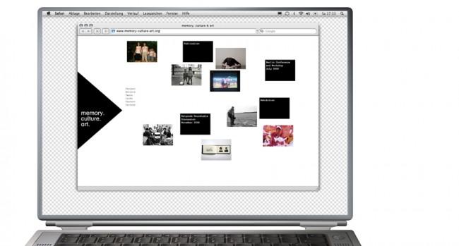 Internetseite für ein Projekt zum Thema Erinnerung in Europa