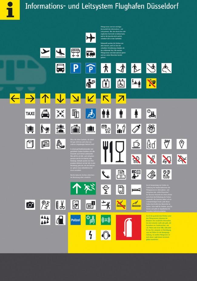 Flughafen Düsseldorf, 1996 © Erik Spiekermann   Nach einem Feuer im April 1996 musste ein neues Leitsystem entworfen werden, das sich vom alten, beschädigten System unterschied. Die Schrift FF Info und die Farbe grün sind seitdem kennzeichnend für den Flughafen Düsseldorf.