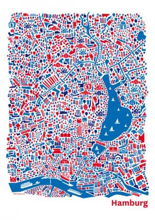 Titel: Vianina-Kartografik - Berlin, Hamburg, Wasserburg, Wien | Gestalter: Nina Wilsmann | Auftraggeber: Eigenwerbung