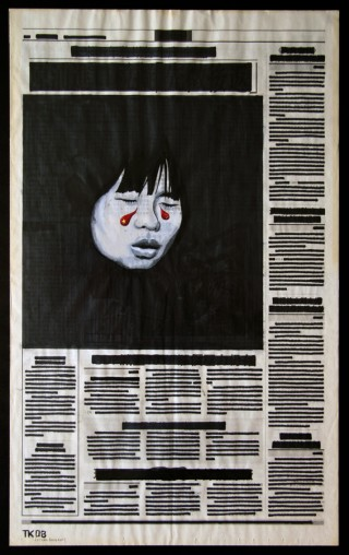 Alone in the Middle | Gouache auf Zeitung