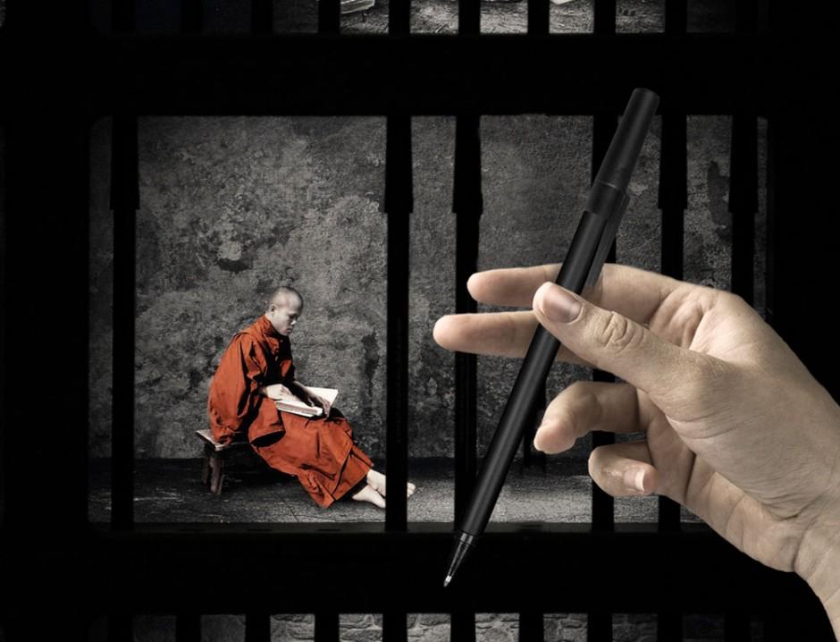 Burma: Die Gitterstäbe sind tatsächlich Stifte, die man entnehmen kann, um eine Petition zur Freilassung politscher Gefangener zu unterschreiben