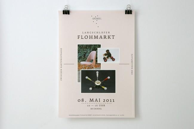 Plakat für den Langschläferflohmarkt im Hamburger Grindelviertel | © Carte Blanche Design Studio