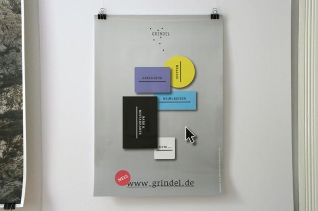 Plakat zur Ankündigung des Internetauftritts des Hamburger Grindelviertels | © Carte Blanche Design Studio