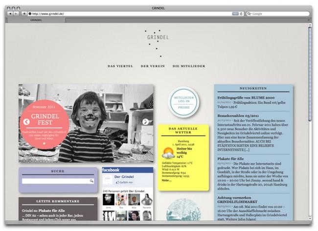 Plakat zur Ankündigung des Internetauftritt für Hamburgs schönstes Viertel – den Grindel | © Carte Blanche Design Studio
