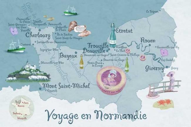 Landkarte: Reise durch die Normandie. Erschienen in der Brigitte, Heft 9 | © Bianca Classen