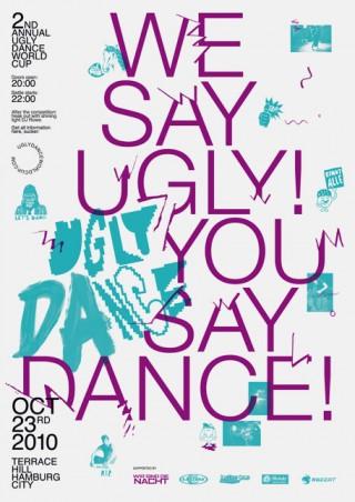 Corporate Design und Plakat für den Ugly Dance World Cup, die alljährliche Weltmeisterschaft im Hässlichtanzen