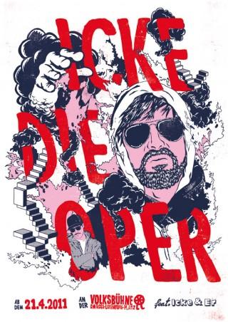 Poster für das Musical »Icke die Oper« an der Volksbühne Berlin