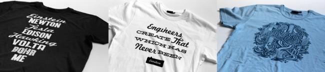 Promo T-Shirts für die Universität von Süddänemark, die für deren große Auswahl von Ingenieurprgrammen werben