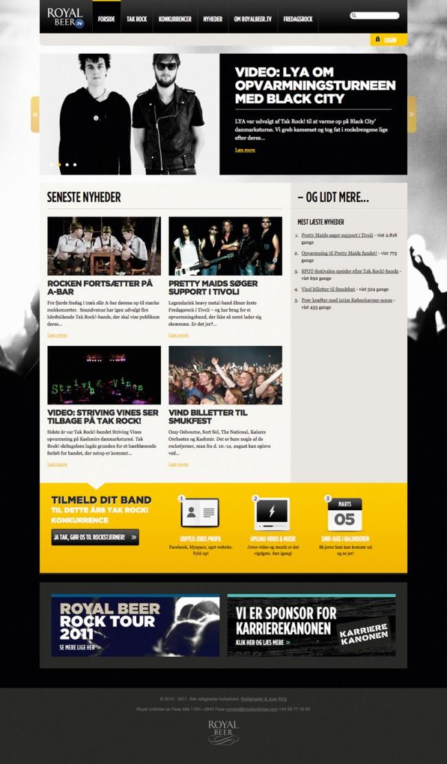 Royal Beer TV Website: Ein Portal für Rockmusik, das Dänemarks größten Rock´n´Roll Wettbewerb mit über 700 Bands ausrichtet