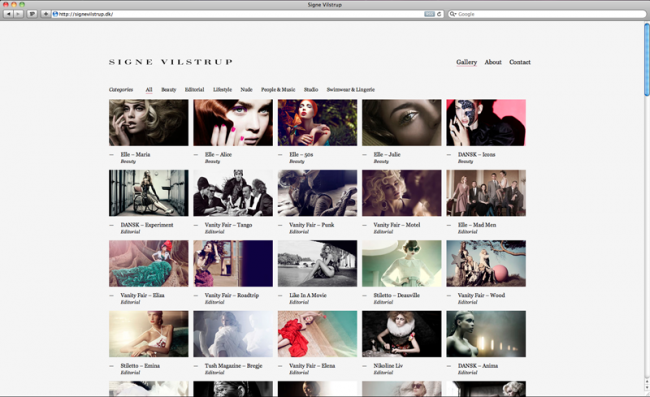 CI und Website für den großartigen Fotografen Signe Vilstrup, minimalistisch und sehr schlicht gestaltet