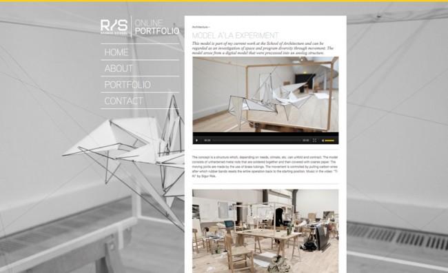 Website für den talentierten Architektur-Studenten Rasmus Svingel. Die Website kombiniert ein ebenso klassisches wie schlichtes Layout mit einer modernen Navigation