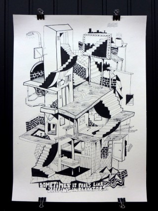 Sometimes it feels like sleeping in elevators | Freie Illustration 2009. Fineliner auf Papier