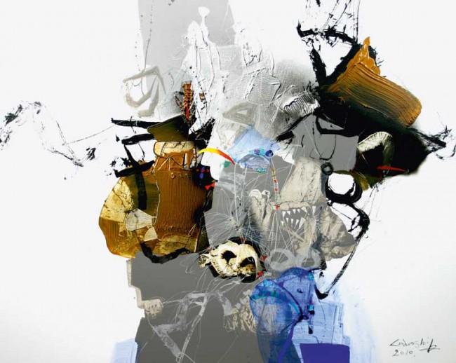 Lee Doo-Shik »Festival 2010«   Acryl auf Leinwand, 100 × 80,3 cm