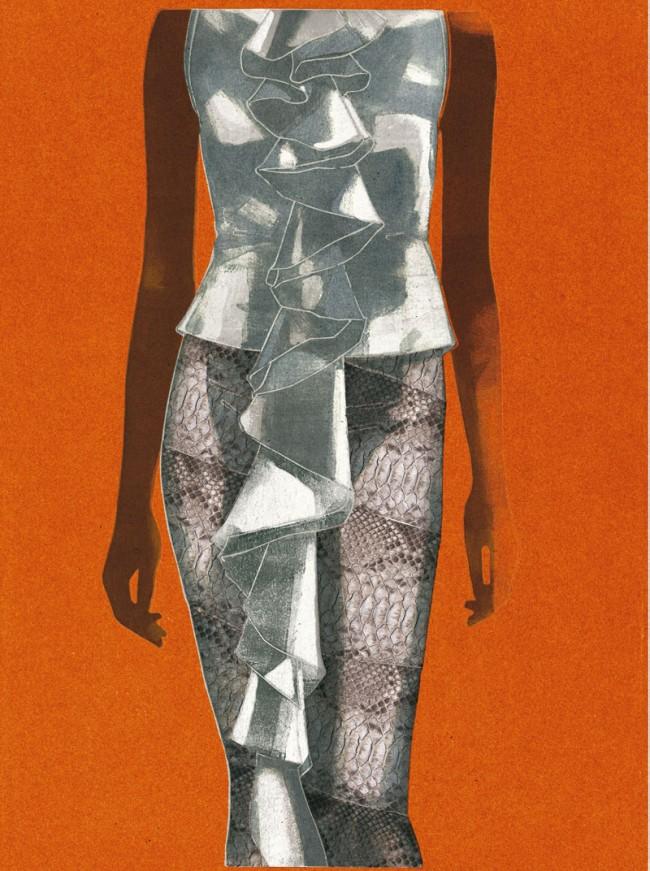 Ferragamo Dress, Werbung für Ferragamo, Monotype, 2009, © François Berthoud