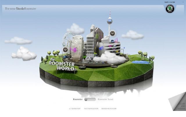 Skoda Roomster Microsite | Zwei Varianten des Roomster klappen sich auf zu einer entsprechenden Welt. Einmal zur Stadt und einmal zur Natur.