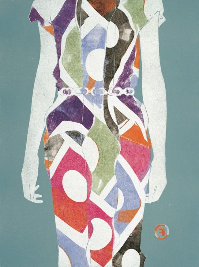 Dress II, Mode von Fendi, veröffentlicht in Vogue (Japan), Linolschnitt, 2000, © François Berthoud