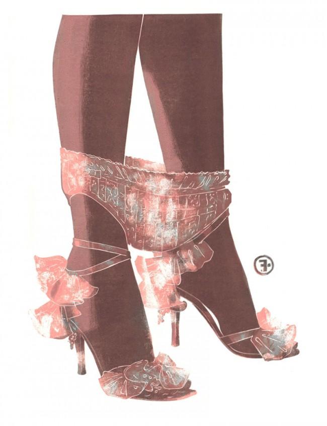 Panties, Mode von Dior, veröffentlicht in Numero (Frankreich), Monotype, Öl auf Papier, 2004, © François Berthoud